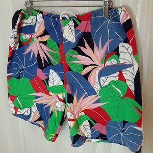 Rad 1980s Le Tigre Hawaiian Shorts. 80s Trunks. L.